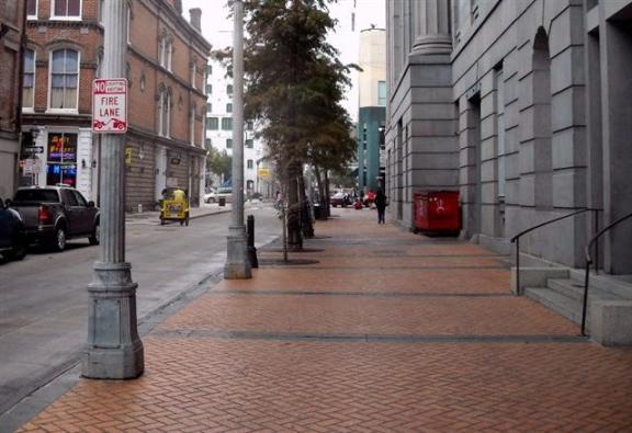 Downtown New Orleans: Great example of sidewalk decorative pavement.