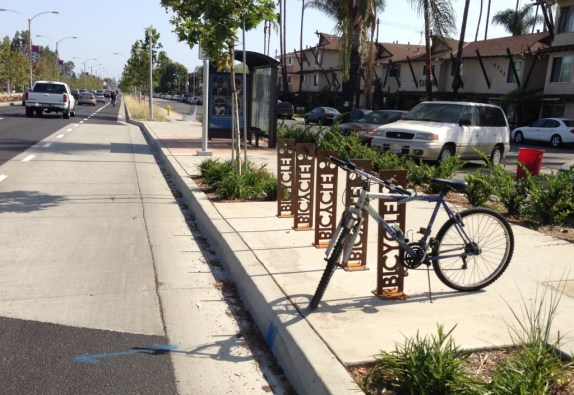The project includes bike parking and transit shelters.