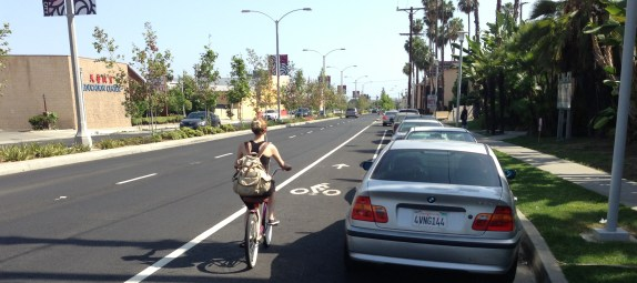 """A few short stretches of the facility were standard """"door-zone"""" bike lanes."""