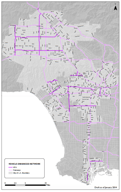 "L.A.'s City Planning Department thinks that adding more traffic to these streets will be a good idea. The ""Vehicle Enhanced Network"" mapped on page 29 of the Mobility Atlas component of L.A.'s proposed Transportation Plan."
