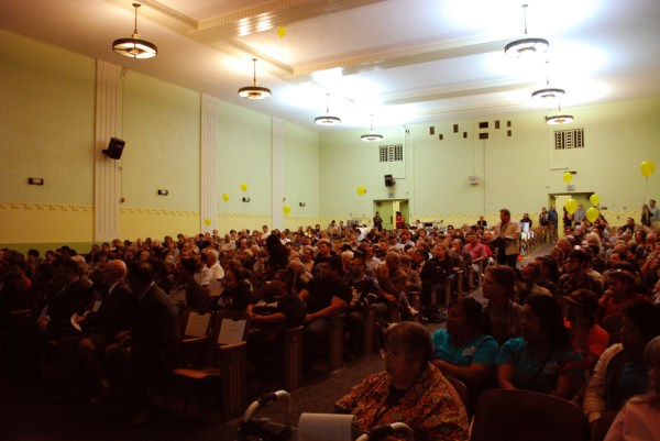 Crowd at Nightingale Middle School waiting for meeting to start. Photo by Nathan Solis