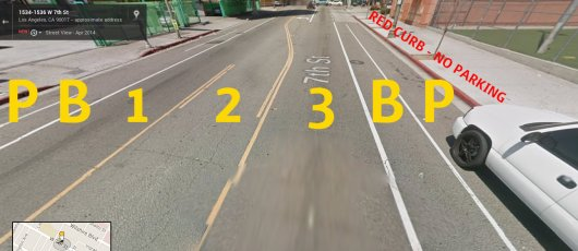 The same stretch of 7th Street, after the road diet. Base image via Google Street view