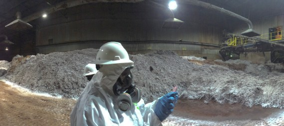 April 18, 2014 -- View inside the Reverb Furnace Feedstock Room. (Source: DTSC)
