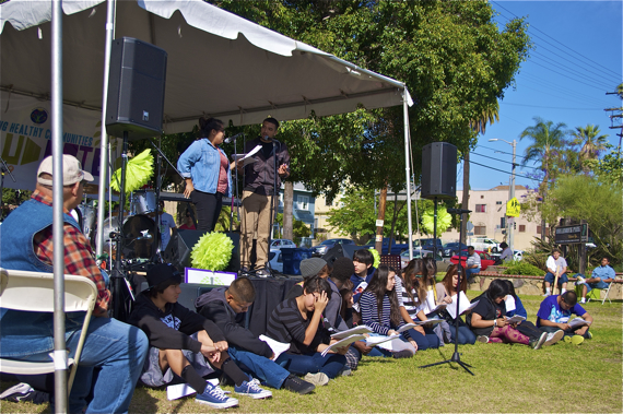 Students perform short theater pieces advocating for more investment in their education at the Saludarte festival in Hollenbeck Park. Sahra Sulaiman/LA Streetsblog
