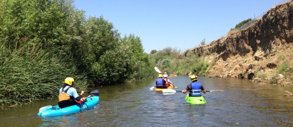 """L.A. River kayakers in the """"little grand canyon"""" in Sepulveda Basin."""