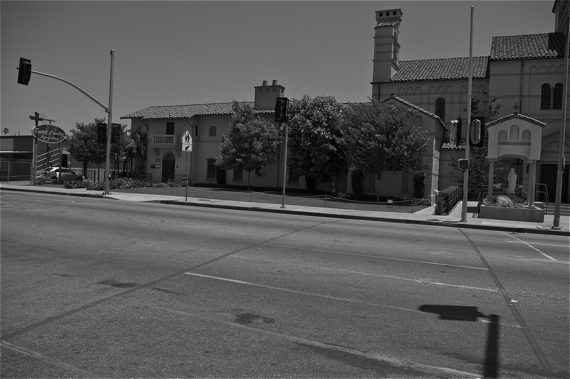 A new, signaled crosswalk is being installed at 42nd Pl. and Normandie, where Nathaniel Mota was killed last September. Sahra Sulaiman/Streetsblog LA