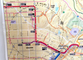 The map on our fridge (cut from the Metro County Bike map) showing a 2-mile radius. Photo: Joe Linton/Streetsblog L.A.