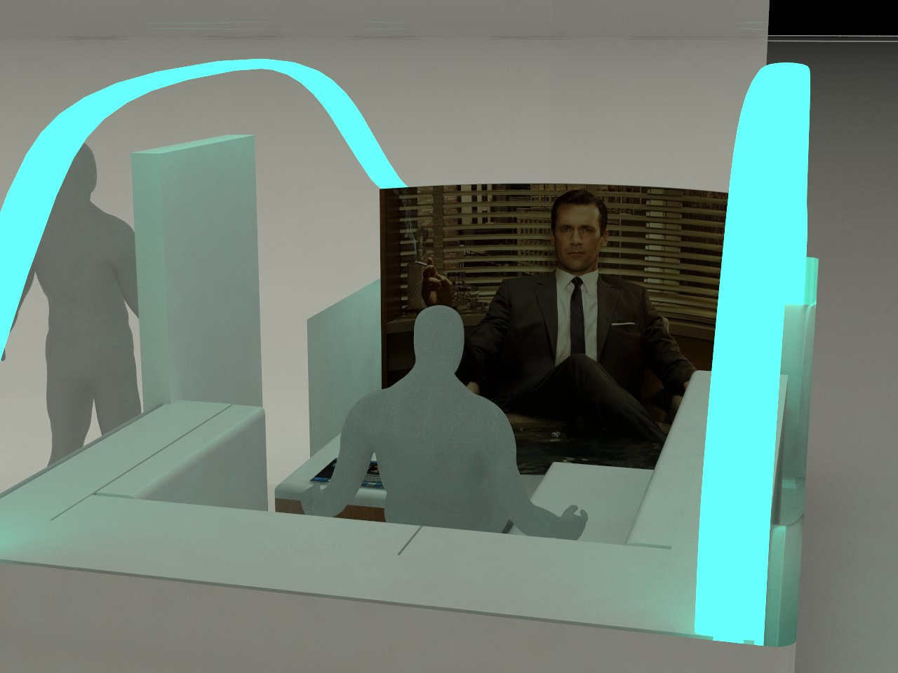The driverless car interior: replace the windshield with a large screen, so you can surf the web or watch a movie while you barrel down the freeway. Image: