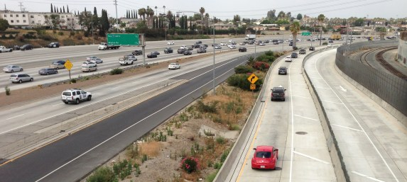 ExpressLanes along the 10 Freeway, looking west from the Soto Street Bridge during morning rush hour June 2014. Photo: Joe Linton / Streetsblog L.A.