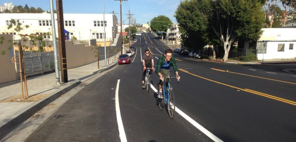 LADOT recently installed road diet bike lanes on First Street in Koreatown. This is one of 53 road diet projects that LADOT has implemented since 1999. Photo: Joe Linton/Streetsblog L.A.