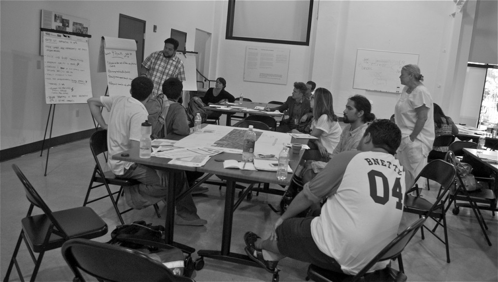 Participants summarize their small-group discussions about needs along Boyle and Soto Sts. Sahra Sulaiman/Streetsblog LA