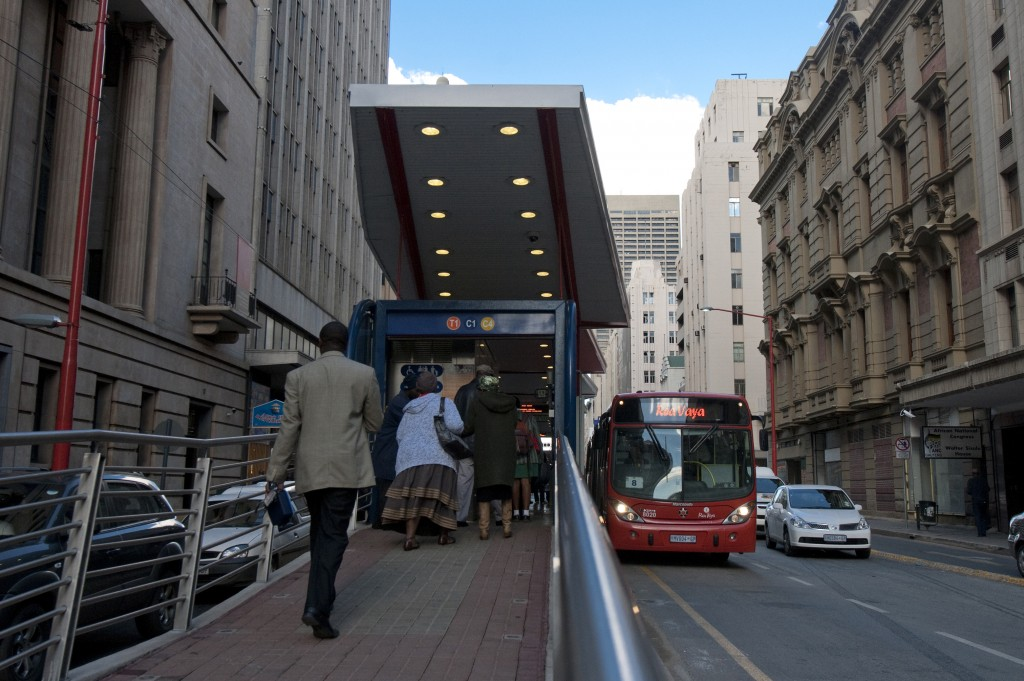The Rea Vaya BRT in Johannesburg, South Africa opened in 2009, and is capable of carrying 30,000 passengers per hour per direction in two lines, and ridership is growing. Photo: ITDP