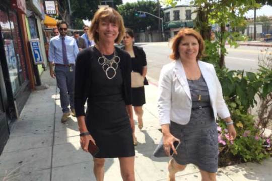 Seleta Reynolds (left) goes for a walk in DTLA with out-of-towner Janette Sadik-Khan. Photo:##http://www.gjel.com/blog/los-angeles-hires-seleta-reynolds-what-it-means-for-walking-and-biking-in-socal.html##GJEL Accident Attorneys##