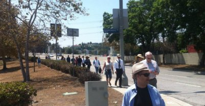 Members of the Glendale Hyperion Bridge Community Advisory Committee, city staff, and elected officials walk the bridge during their final meeting on August 7. Photo: Don Ward