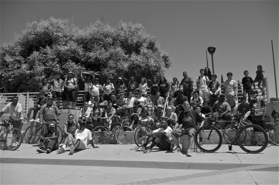 The unity riders take a break at the Watts Towers. Sahra Sulaiman/Streetsblog LA