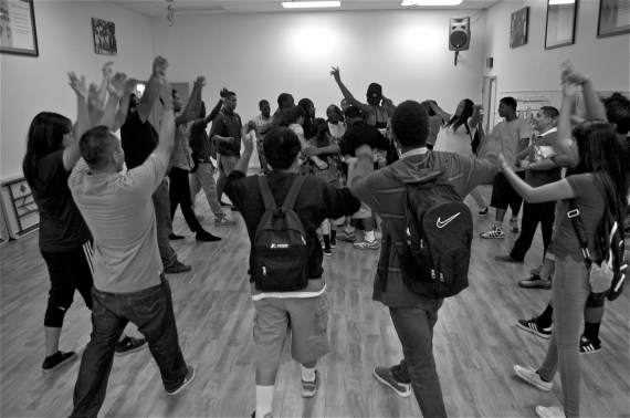 """""""We are only as strong as our weakest link."""" Alfonso Aguilar tells the youth at Community Coalition. Sahra Sulaiman/Streetsblog LA"""