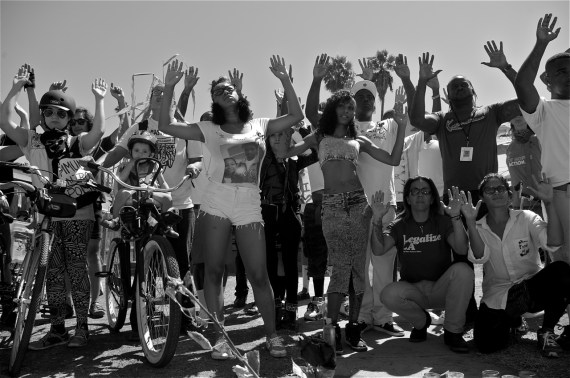 """Hands Up, Don't Shoot"" Friends and family members of Ezell Ford shoot a music video decrying police brutality. Sahra Sulaiman/Streetsblog LA"