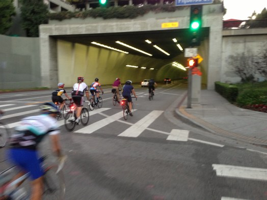 Ride for Milt enters the Second Street Tunnel in downtown L.A.
