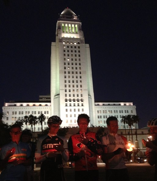 Los Angeles City Hall wasn't the target for the Milton Olin vigil, but it makes a compelling backdrop.