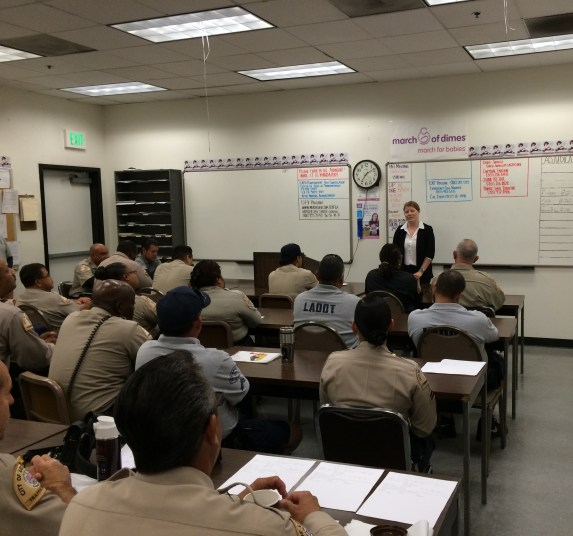 Seleta Reynolds is front and center at an LADOT officer roll call in August. Photo: LADOT
