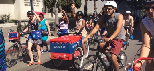 Los Angeles Public Library book bike at yesterday's CicLAvia. Image via Facebook.