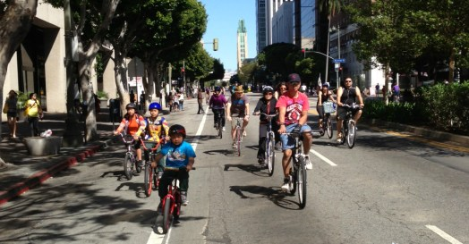 Kids having fun in the middle of Wilshire Boulevard at the April 2014 CicLAvia. All photos: Joe Linton/Streetsblog L.A.