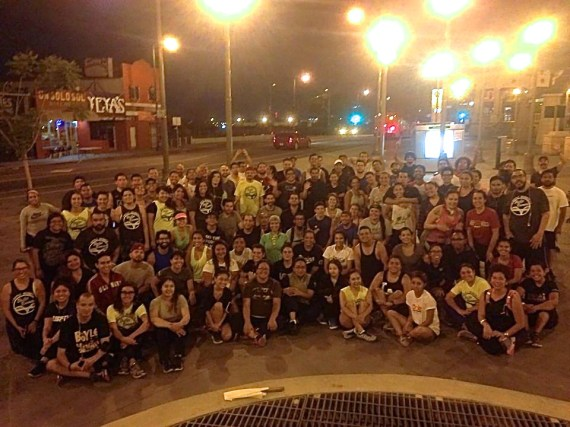 The Boyle Heights Bridgerunners -- founded by David Gomez of Espacio 1839 -- celebrate one year of Wednesday nights running the bridges between Boyle Heights and DTLA. Photo: Boyle Heights Bridgerunners