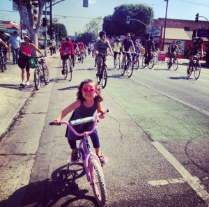 Leah at a previous CicLAvia. Photo via Maryann Aguirre.