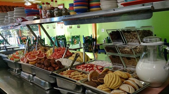 The buffet at Taqueria el Sol, a family-run restaurant located near the 5 freeway on 1st St. Photo: Taqueria el Sol