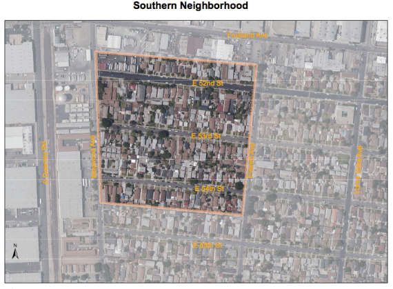The Southern Assessment Area, located in Maywood. The Northern one is located straddles the boundary between Boyle Heights and East L.A. Source: DTSC