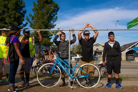 South L.A. youth that rode with the East Side Riders and Los Ryderz to CicLAvia. Sahra Sulaiman/Streetsblog L.A.