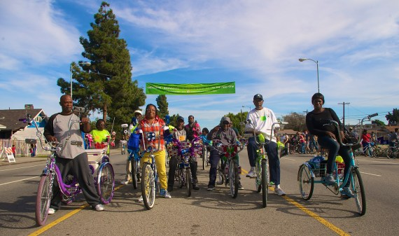Members of the L.A. Real Rydaz and World Riders post up on MLK Blvd. Sahra Sulaiman/Streetsblog L.A.