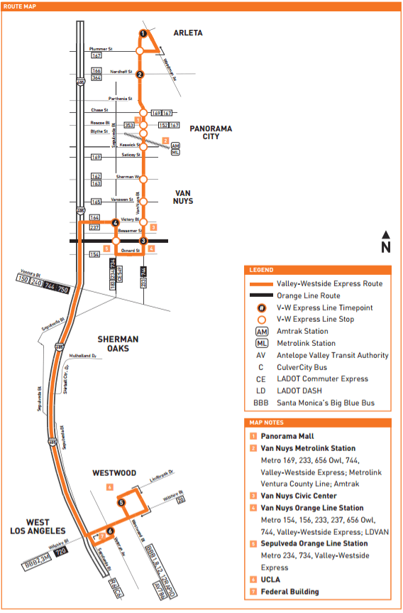 Route Map for new Valley-Westside Express. Image via Metro