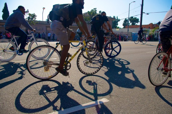 Andrae Harrison and others ride along MLK Blvd. Sahra Sulaiman/Streetsblog L.A.