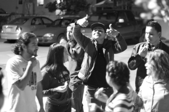 Irvin Plata from YouthBuild Boyle Heights gives the thumbs up after a victory at the neighborhood council Wednesday night. Sahra Sulaiman/Streetsblog L.A.