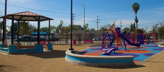 The layout of the new pocket park at Avalon and Gage. Sahra Sulaiman/Streetsblog L.A.