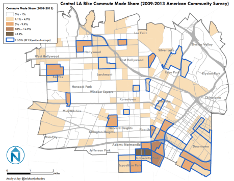 Central Los Angeles bicycle modal share. Map courtesy Michael Rhodes