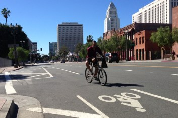 Are there really streets in downtown L.A. where bicyclists get fifty percent of the roadway? Los Angeles Street this morning. Photo by Joe Linton/Streetsblog L.A.