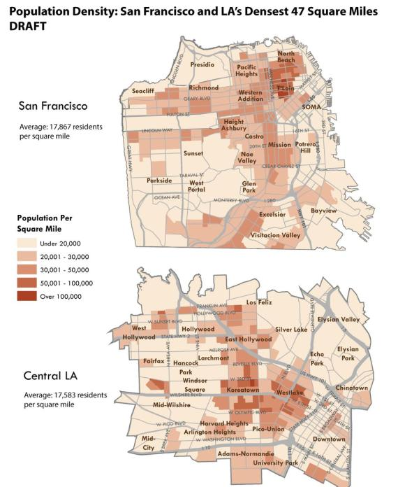 Mapping population density over roughly 50 square miles of S.F. and L.A. Image via Michael Rhodes