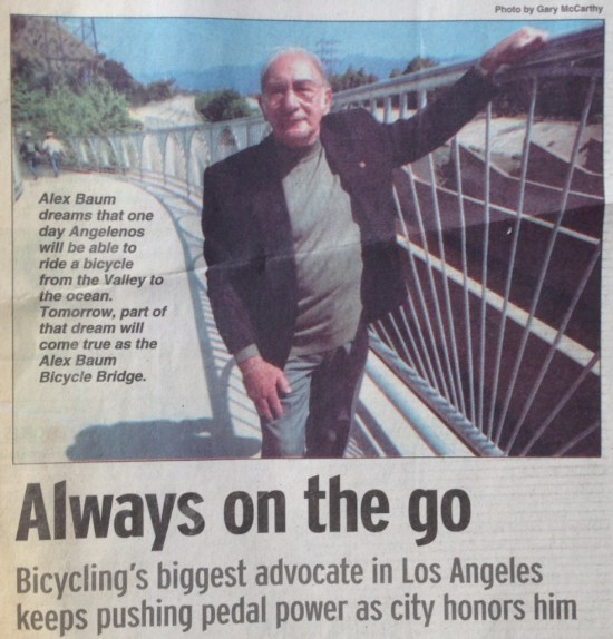 Alex Baum pictured in the May 1, 2002, edition of the Hollywood Independent, posing before the Alex Baum Bicycle Bridge.