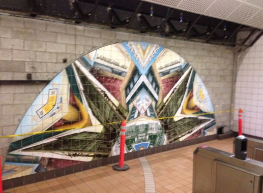 North Hollywood station mural ready for departure. Photo by Joe Linton/Streetsblog L.A.
