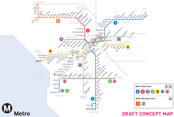 The proposed new Metro rail/BRT system map, showing proposed letter designations. Image via Metro [PDF]