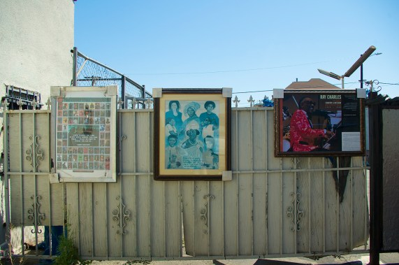 The Snack Shack (est. 1941) along Central Ave. features mementos of jazz history in its tiny patio. Sahra Sulaiman/Streetsblog L.A.