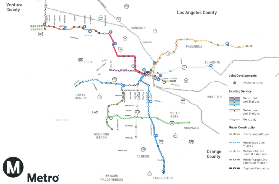 The map of potential transit-oriented affordable housing sites. Source: Metro