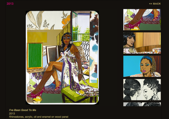 Screen shot of Mickaline Thomas' web page of work from 2013.