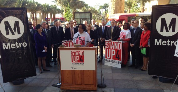 Metro Interim CEO Stephanie Wiggins urges congress to Stand Up 4 Transportation this morning's rally in downtown Los Angeles. Photo: Joe Linton/Streetsblog L.A.