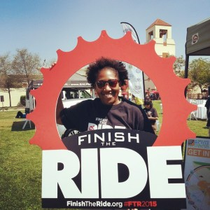 LACBC director Tamika Butler poses at Finish the Ride. Image via ##https://instagram.com/p/1qsgUQukrh/##Tamika's Instagram Feed.##
