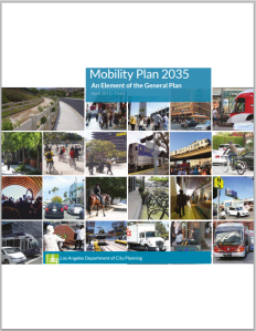 The latest cover of the city of Los Angeles draft Mobility Plan 2035. Image via DCP [PDF]