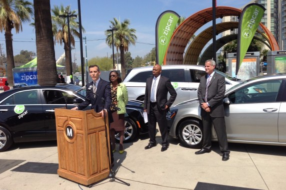 Mayor Garcetti announces Zipcar vehicles are now available at ten Metro station parking lots. Left to right: Garcetti, Jacquelyn Dupont-Walker, Phil Washington, and Dan Grossman. Photos by Joe Linton/Streetsblog L.A.