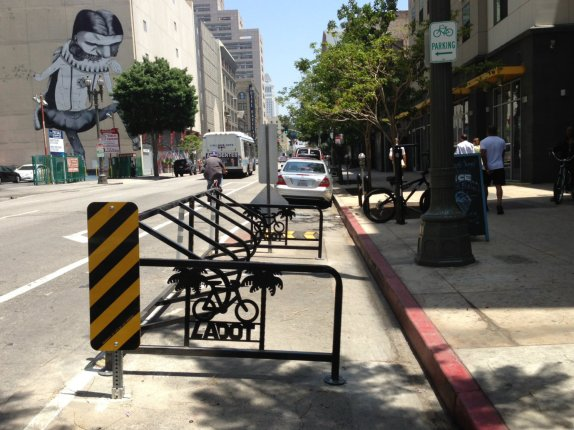 Downtown L.A.'s first bike corral on Main at 5th